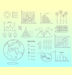 Visual representation data in graphics outline vector