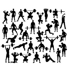 Weightlifting Bodybuildding Dumbbell Silhouettes vector