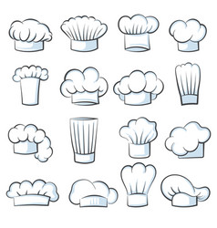 white cook hat chef cap drawing clothes cooking vector image