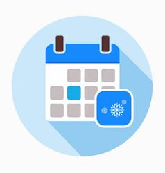 Winter calendar with snowflake icon vector