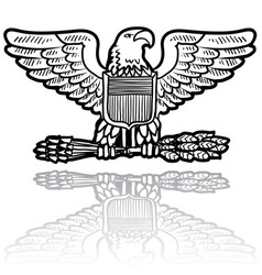 doodle us military insignia eagle vector image vector image