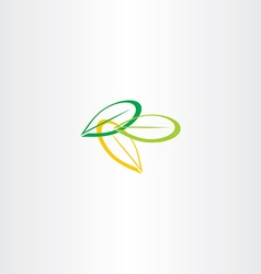 green yellow leaf icon vector image