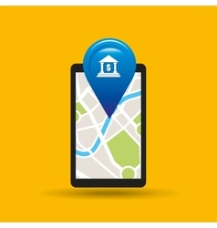 Hand holds phone navigation app bank vector