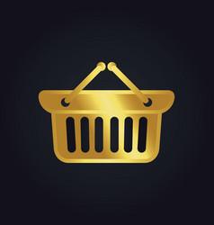 shopping cart basket buy gold logo vector image vector image