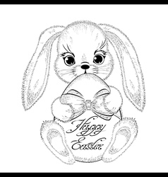 Hand drawn easter rabbit with paschal egg vector image