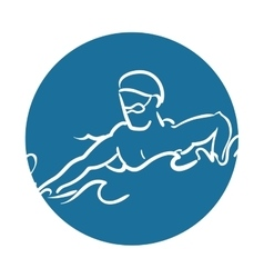 man silhouette swimmer athlete vector image