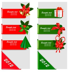 set of winter color christmas signs vector image vector image