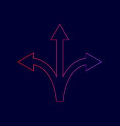 three-way direction arrow sign line icon vector image