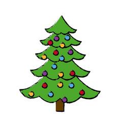 Christmas tree balls decorations festive plant vector