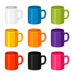 Colored mugs templates set of promotional gifts vector