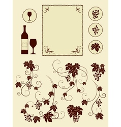 Grape vines and winery object silhouettes vector image