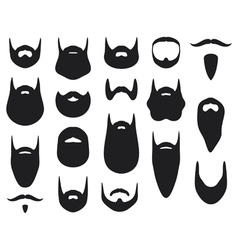 Set of beard silhouettes vector image vector image
