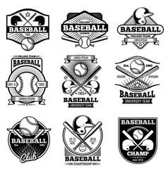 vintage sports logo design retro baseball vector image