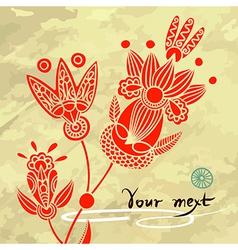 floral element on grunge background vector image vector image