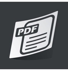 Monochrome PDF file sticker vector image vector image