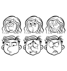 six different emotions on human faces vector image vector image