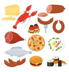 Traditional food icons for a menu vector image vector image