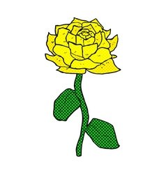 yellow rose comic cartoon vector image vector image