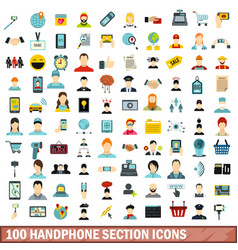 100 handphone section icons set flat style vector