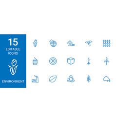 15 environment icons vector
