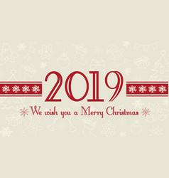 2019 merry christmas card vector image