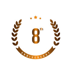 8 th anniversary template design vector