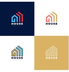 Abstract arrows real estate house logo icon vector