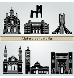 Algiers landmarks and monuments vector