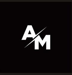 Am logo letter monogram slash with modern logo vector
