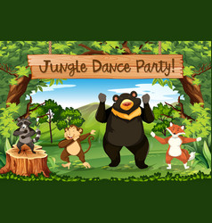 Animals jungle dance party vector