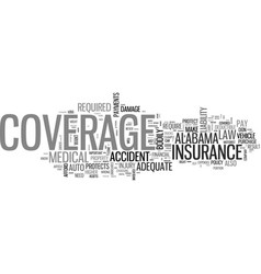 Auto coverage in alabama text word cloud concept vector