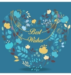 Blue and yellow floral heart with text Best wishes vector