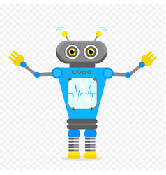 Blue cheerful cartoon robot character vector