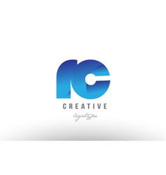 Blue gradient rc r c alphabet letter logo vector