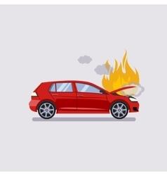 Broken hood red car is covered vector