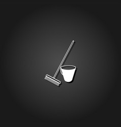 bucket and rake for the sandboxes icon flat vector image