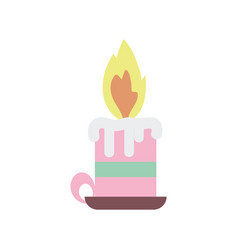 burning candle chandelier decoration icon vector image