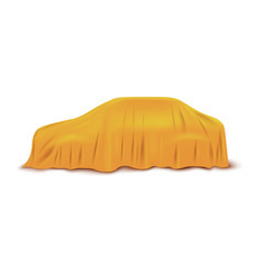 Car or automobile covered with cloth 3d realistic vector