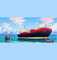 Cargo ship in sea port dock industrial vessel vector