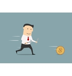 Cartoon businessman pursuing a golden coin vector image