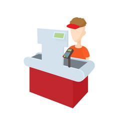 Cashier behind cash register icon cartoon style vector image