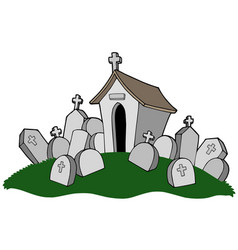 Cemetery with tomb vector