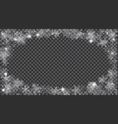 Christmas frame of translucent snowflakes in the vector