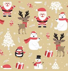 Christmas seamless pattern with santa vector