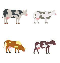 Cow icons set flat style vector