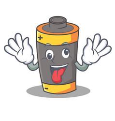 crazy battery mascot cartoon style vector image