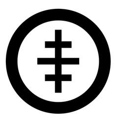 Cross papal roman church icon in circle round vector