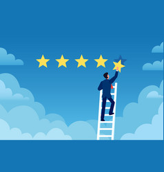 customer rating businessman stands on ladder and vector image