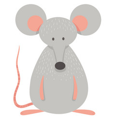 Cute grey mouse animal character vector