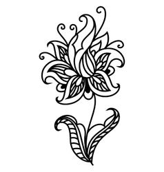 Dainty outline black floral motif vector